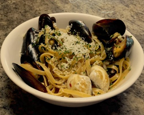 Clams and Mussels, pasta and white wine sauce