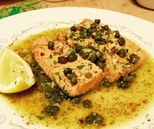 Poached Salmon with Capers and Wine Sauce