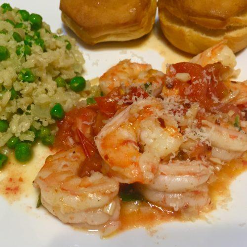 Garlic Shrimp, Tomatoes, Basil, White Wine