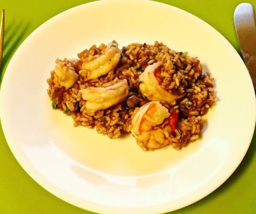 Shrimp Risotto with Red Wine