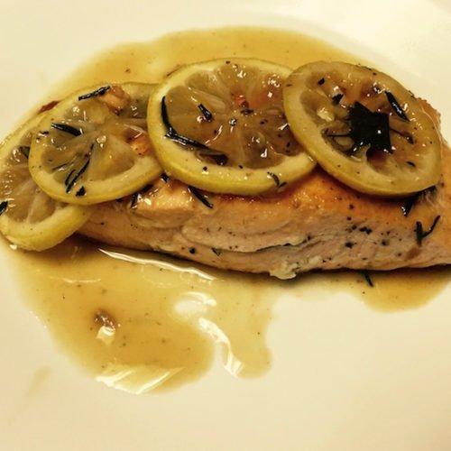 Sautéed Salmon Filets with a Lemon Rosemary Sauce
