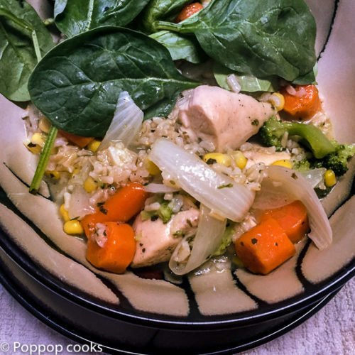 One Pan Chicken Rice Veggies