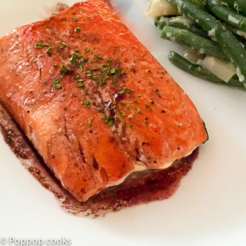 Pan Seared Salmon with Red Wine Drizzle-15 min.