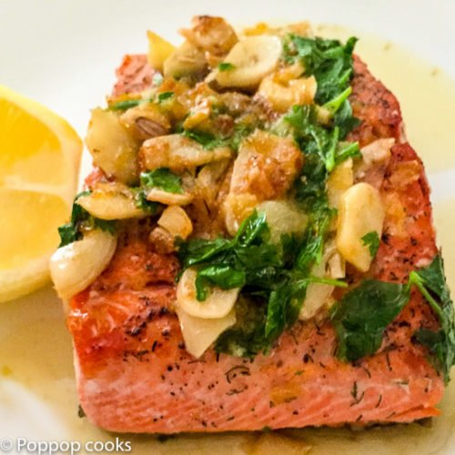 Lemon Parsley Garlic Pan Seared Salmon