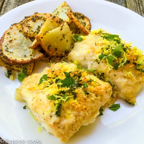 Baked Cod Filets with Lemon and Mint
