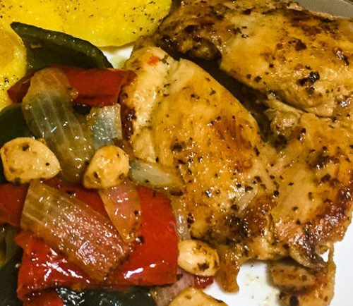 Pan Seared Chicken Peppers and Onions