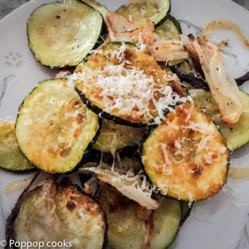 Oven baked Zucchini, Onion, Parmesan