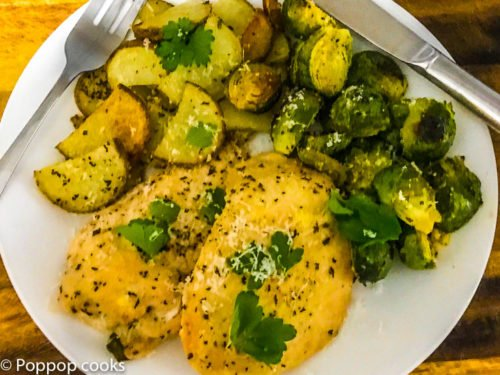 One Pan Chicken Brussels Sprouts and Potatoes – Quick and Easy – 30 Minutes – Gluten Free
