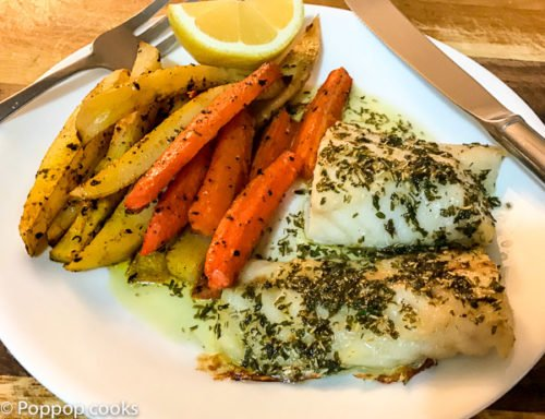 Baked Cod One Pan Dinner – Quick and Easy – 25 Minutes