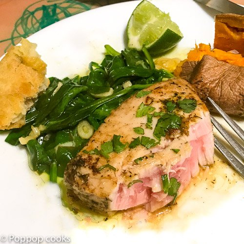 Pan Seared Tuna Steak with Lime and Cilantro
