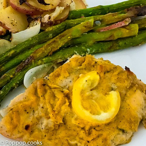 Baked Chicken Breasts with Hummus – Whole Meal on One Baking Sheet – 30 Min.