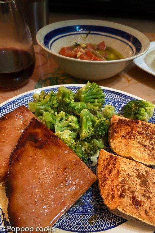 Brown sugared ham steak